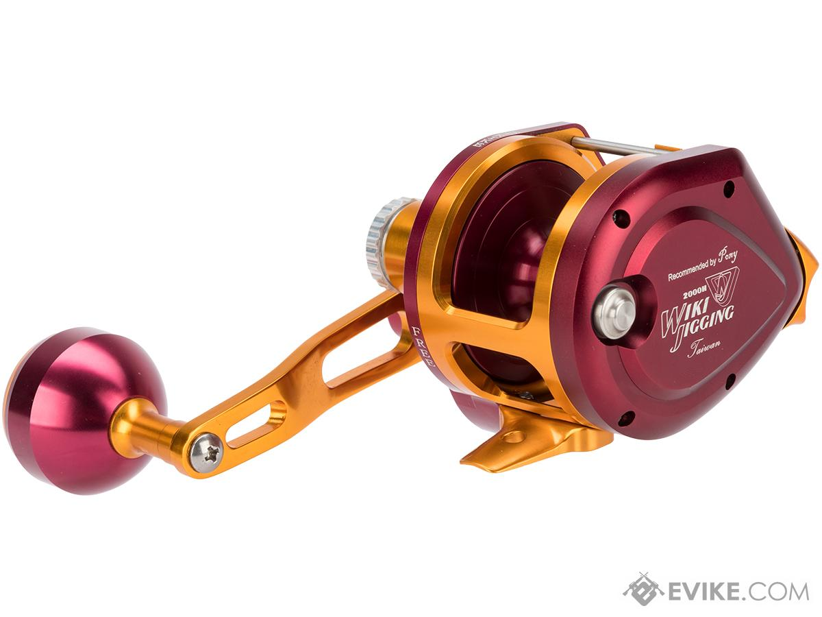 Wiki Jigging 2000H Lever Wind Fishing Reel w/ Automatic Line Guide (Model: Red / Gold / Left Hand)