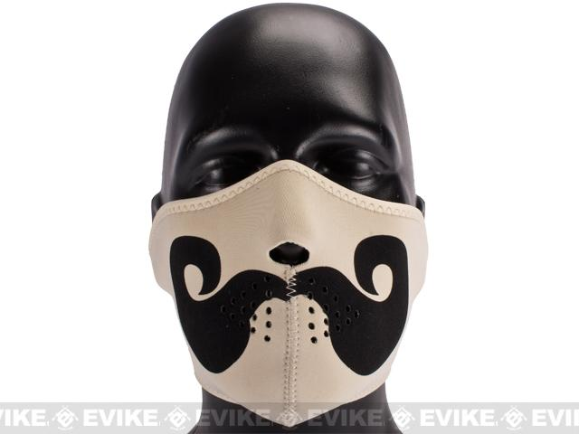 Zan Neoprene Half Face Mask - Curly Mustache