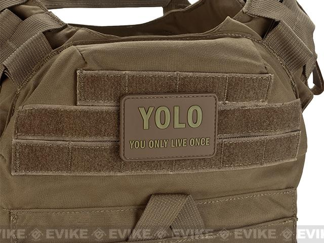 YOLO 'You Only Live Once' Tactical PVC Morale Patch - Tan