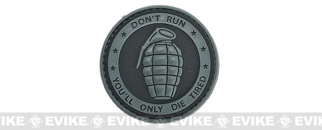 Matrix PVC Hook and Loop IFF Patch - Don't Run, You'll Only Die Tired Grey