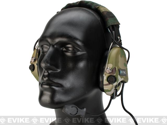Matrix Military Style Tactical Communications Headset w/ Noise Cancelling System Type-E - Multicam