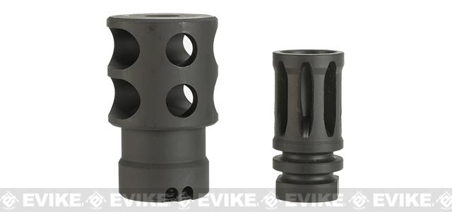 Zenimei CNC Steel DTK-2 Flash Hider / Muzzle Brake - 24mm Positive w/ 14mm Negative Adaptor
